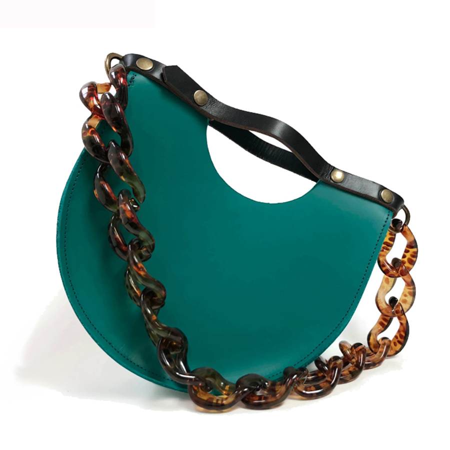 Retro Acrylic Chain Semicircular Bag Women Handbags Designer Shoulder Bag PU Leather Saddle Bag Party Purse Lady Hand Bags 2019 in Shoulder Bags from Luggage Bags