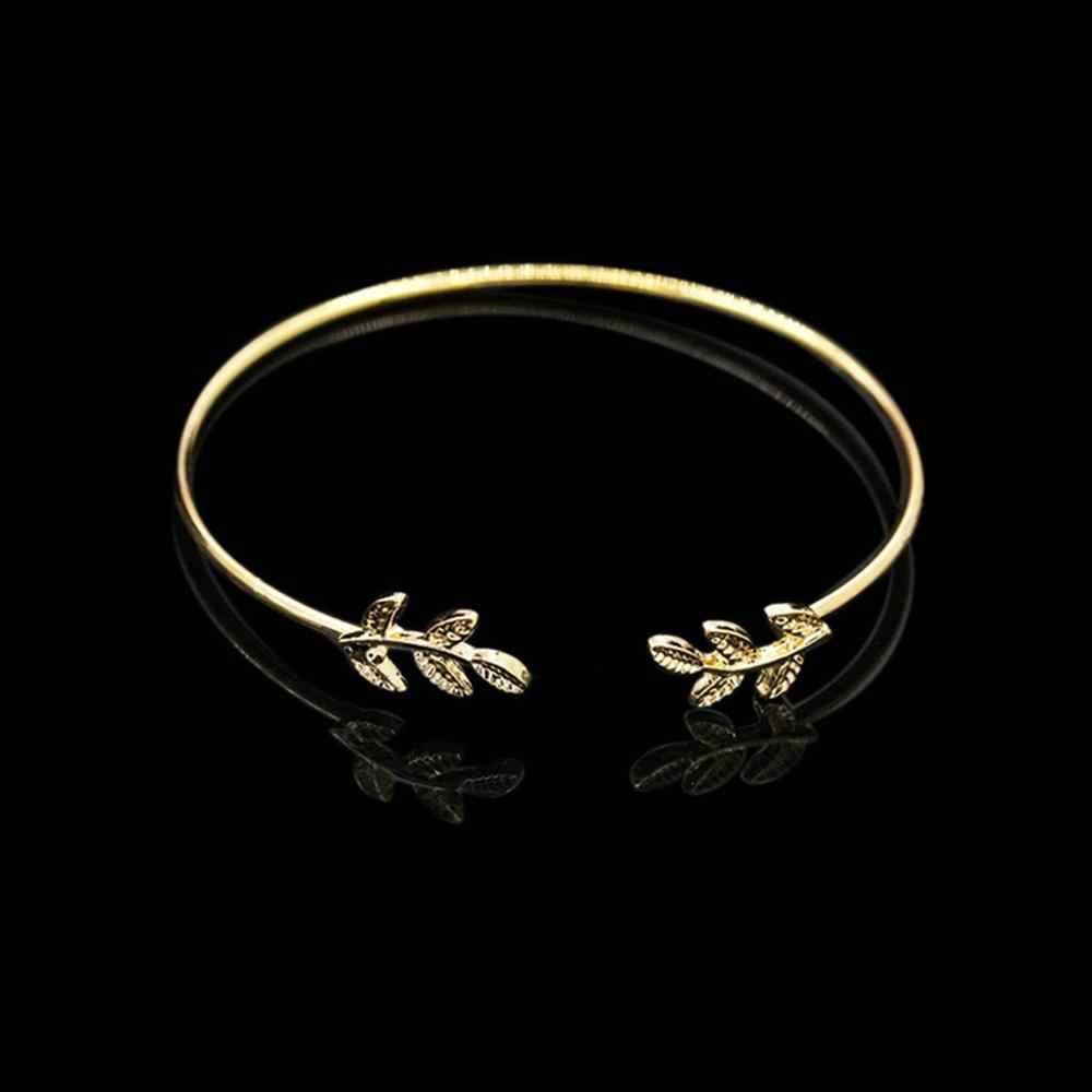 Joyería de acero inoxidable Pulseras para mujer Simple hoja de oro Bff pulsera damas de honor regalos Pulseras lindo brazalete