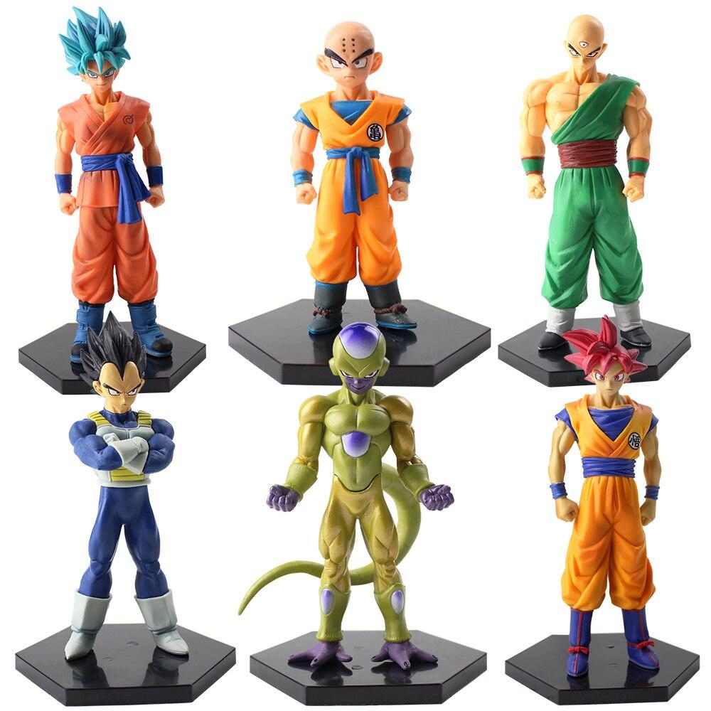 6 pcs/lot Dragon Ball Z figurines fils Goku végéta Krillin Kuririn doré Frieza Tien Shinhan Super Saiyan dieu modèle jouets