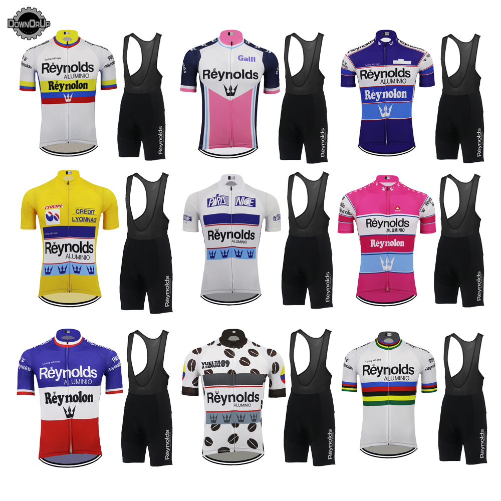 Multi Chooses Retro Bike Clothing Set Quality Go Pro Men Cycling Jersey Set 9D Gel Pad MTB Jersey Short Sleeve Suit Reynolds