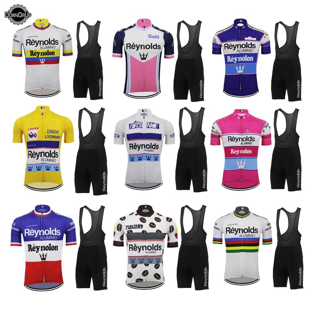 Multi Chooses Retro Bike Clothing Set Quality Go Pro Men Cycling Jersey Set 9D Gel Pad MTB Jersey Short Sleeve Suit Reynolds
