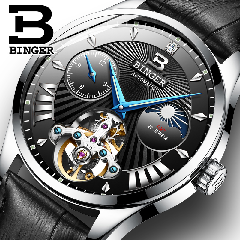 Switzerland Mechanical Watch Men Binger Role Luxury Brand Men Watches Skeleton Wrist Sapphire Men Watch Waterproof B-1186-4 wrist switzerland automatic mechanical men watch waterproof mens watches top brand luxury sapphire military reloj hombre b6036