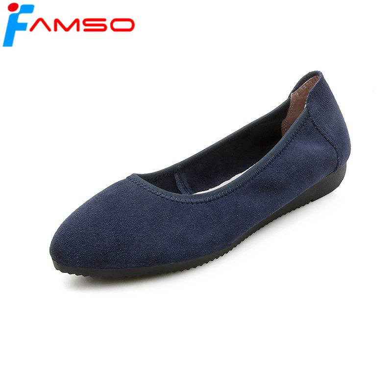 FAMSO 2018 New Fashion Women Flats Shoes black blue Red Spring Autumn Shallow Shoes genuine Leather Female Casual Suede Shoes new leather black shallow casual shoes spring and autumn big size rough with professional women s shoes hot models fashion shoes