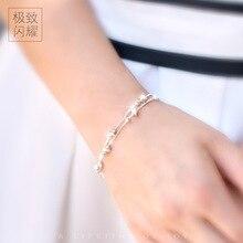 """1 unid Lady Star & Perlas de 925 Joyas de Plata de Doble filas pulsera de cadena ajustable de la Joyería de 7.3 """"PULGADAS LS129"""