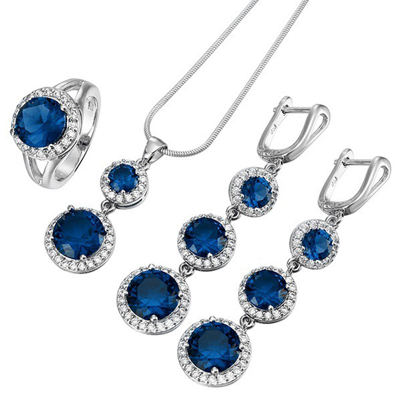 f5653e060 Blue Crystal Stone Jewelry Sets for Woman Pendant Necklaces Choker Water  Drop Earrings Rings Silver Bohemia