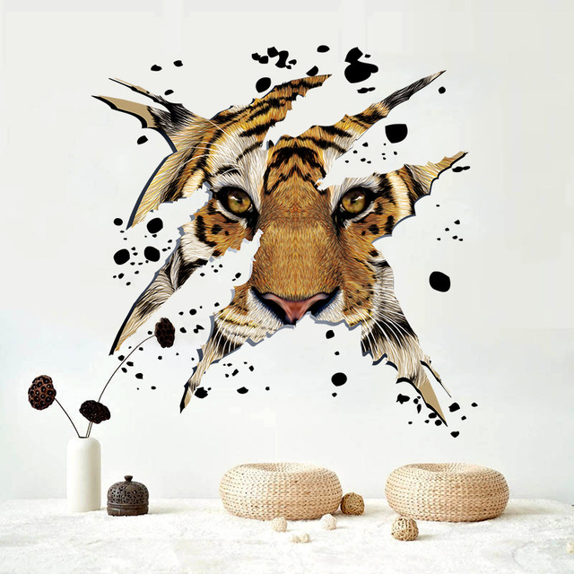3D Animal Tiger For Kitchen Room Wall Decals For Kid Room Bedroom Living  Room Decorative Stickers