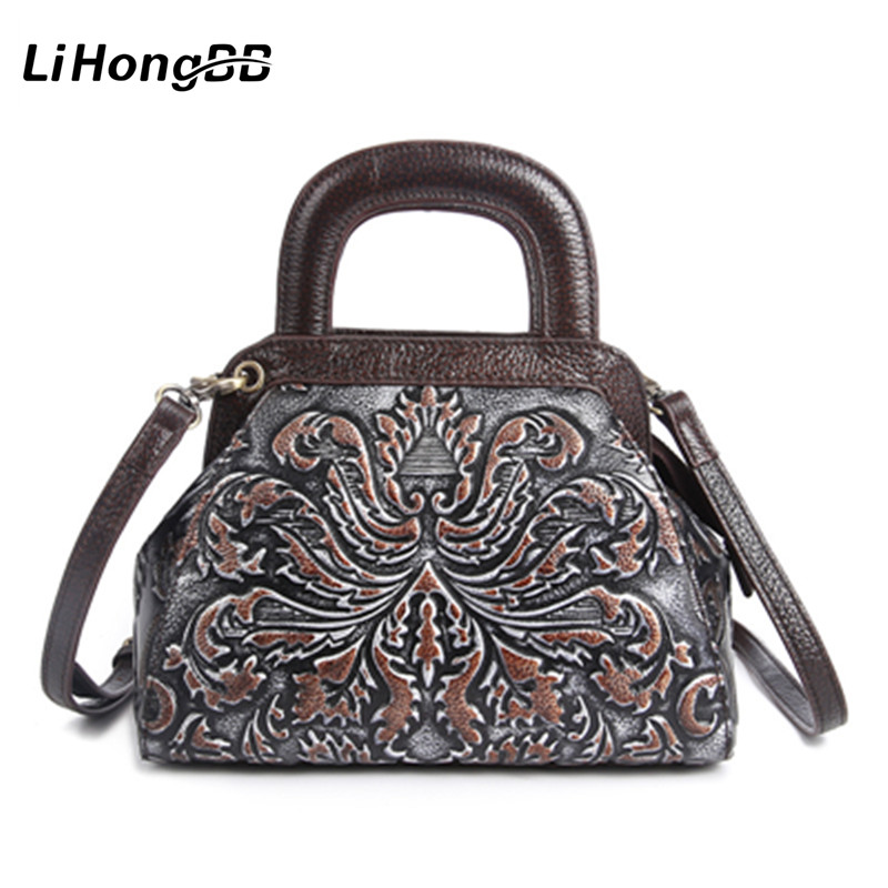 2017 New Genuine Leather Shoulder Bags Vintage Embossed Flower Women Handbag Ladies Small Tote Bag Messenger Bag Bucket Bag niuboa soft genuine leather women tote bag leather vintage brand work handbag new euro women bucket bag elegant shoulder bags