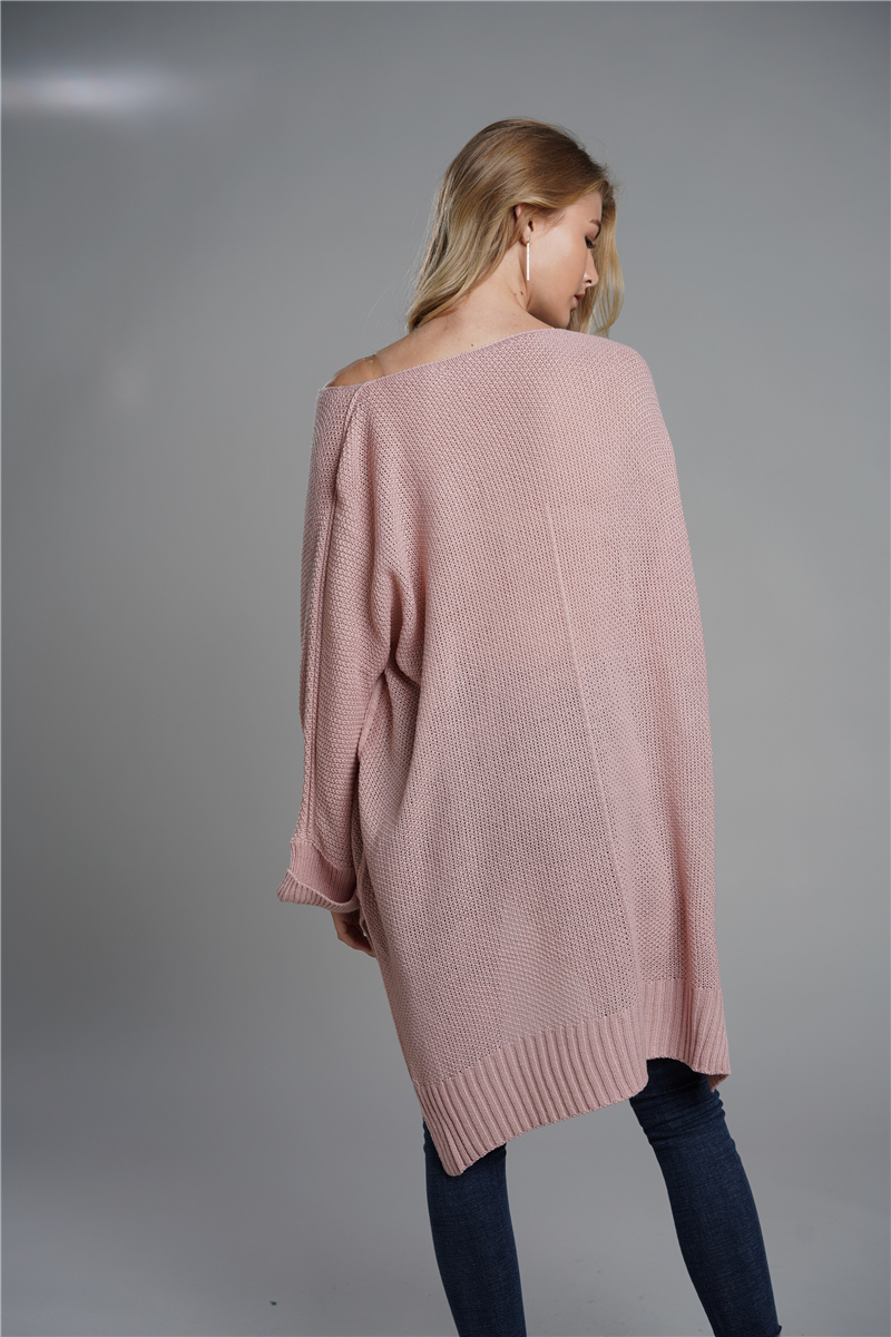 Oversized Batwing Sleeve Lady's Sweater, Knitwear V Neck, Long Pullover 14