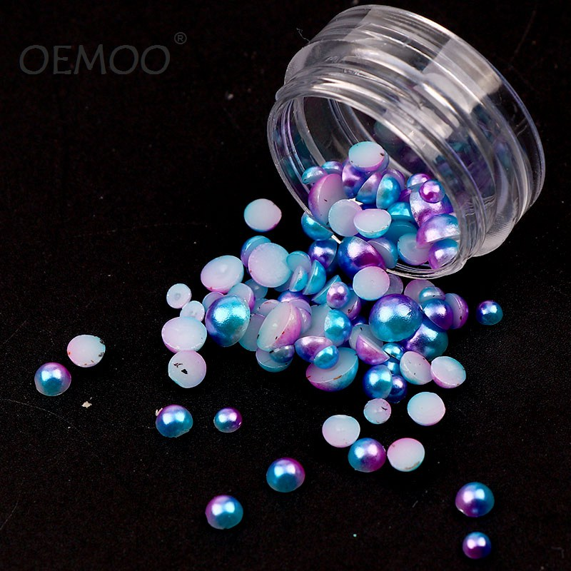 2 X 1000 Pcs Colorful Semi Sphere Half Baby Pearls For Nail Art