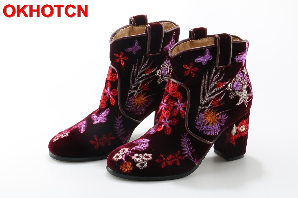 Fashion Women Winter Ankle Boots OKHOTCN Brand Elegant Embroider Shoes Woman Square High Heel Round Toe Floral Flock Warm Boots only true love women ankle boots full grain leather high square heel round toe shoes woman black