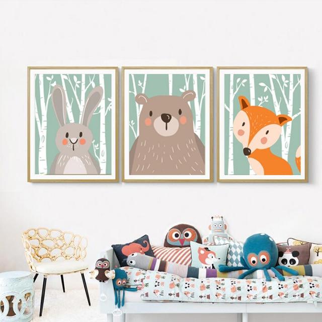 Sicher Leben Woodland Tiere Kaninchen Fuchs Bär Kinderzimmer