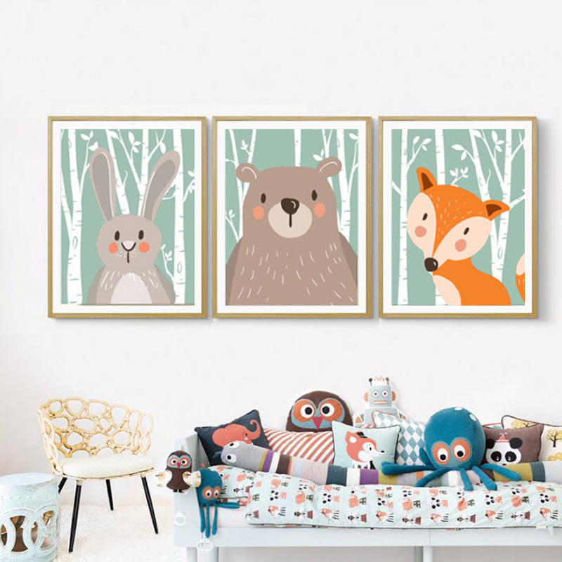 SURE LIFE Woodland Animals Rabbit Fox Bear Nursery Canvas