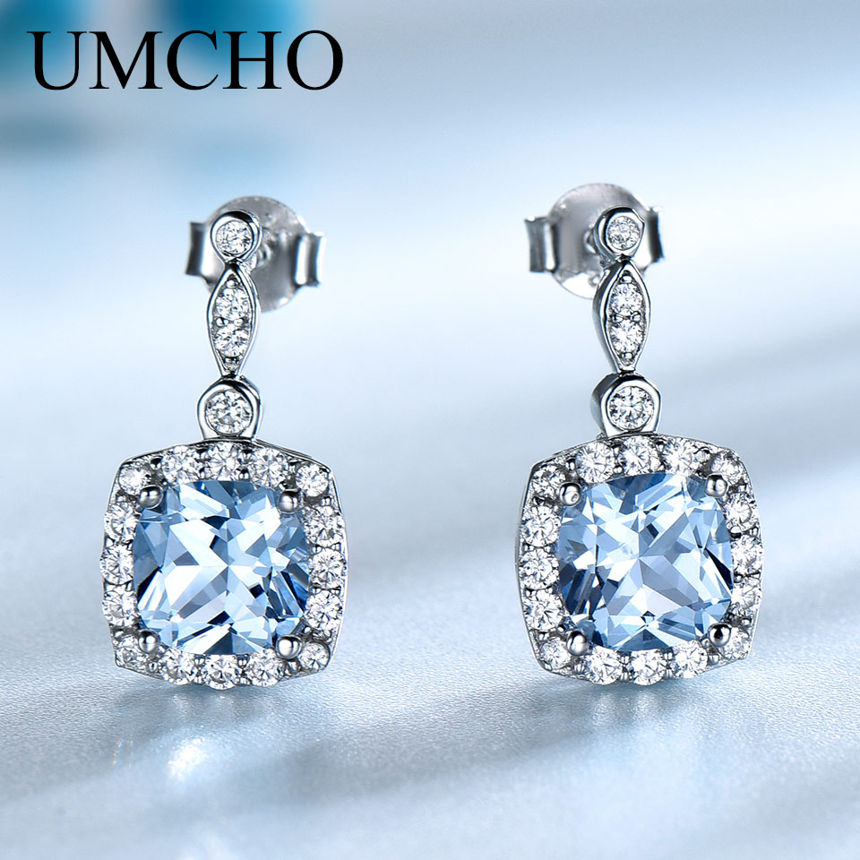 UMCHO Solid 925 Sterling Silver Drop Earrings Skapat Nano Sky Blue - Fina smycken