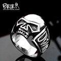 Beier nueva tienda anillo punky del cráneo del motorista anillo de acero inoxidable 316l de alta calidad para hombres joyería de moda br8-383