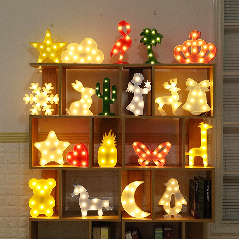 AGM LED Night Light Cloud Moon Star Lamp 3D Lights Novelty Luminaria Cactus Nightlight Marquee Letter Baby Kids Gift Decor #45