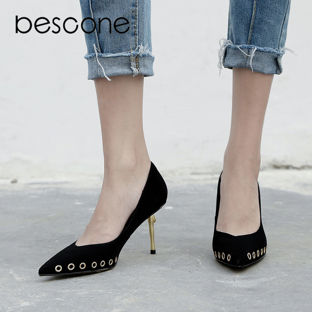 BESCONE Mature Woman Pumps Black Pink Kid Suede 7.5cm Thin Heel Shoe  Wedding Party Office Lady Shoe Elegant Metal Decoration A14