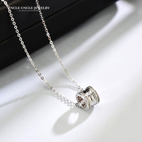 Brand Design High Quality 925 Sterling Silver Classic Style Barrel-Shaped Rhinestones Setting Lady Pendant Necklace Wholesale