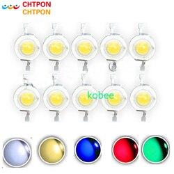 100 pçs/lote Real CREE 1 W 3 W Alta Potência LEVOU Contas de Luz 2.2 V-3.6 V SMD Chip díodos LED Lâmpada Branco/Branco Morno/Vermelho/Verde/Azul