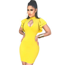 2018 Women Black Yellow Red Sexy Bodycon Dress Short Petal Sleeve Hollow Out Stand Collar Slim Nightclub Party Wear Mini Dress(China)