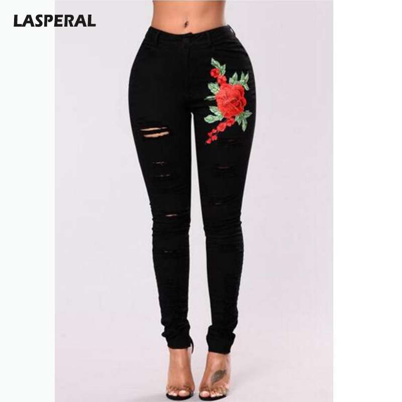 LASPERAL High Waist Black Ripped Hole Jeans Women Floral Embroidery Pencil Jeans Pants  Femme Push Up Denim Jeans  Plus Size 3xl