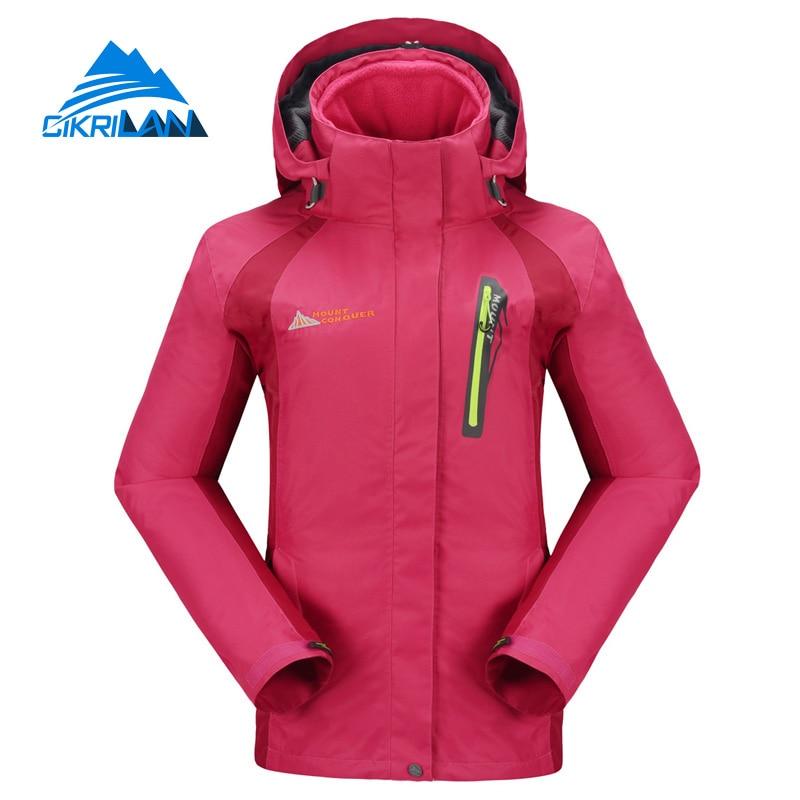 ФОТО Winter 3 In 1 Outdoor Sport Breathable Camping Jaquetas Climbing Ski Snowboard Women Jacket Brand Windbreaker Hiking Gear Coat