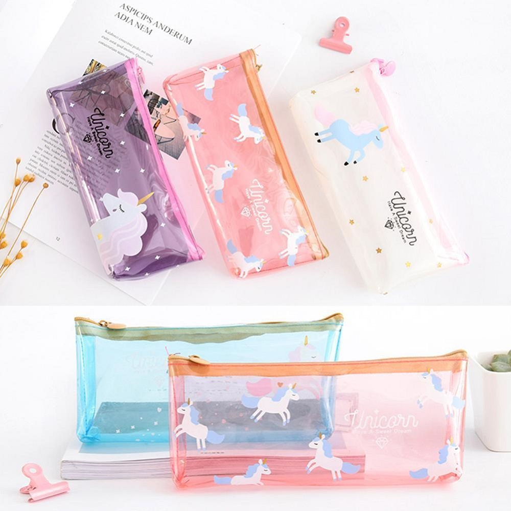Limit Shows Lovely Clear Funny Jelly Unicorn Pencil/Pen Case Stationery Bag Cosmetic Makeup Pouch Gifts For School And Office