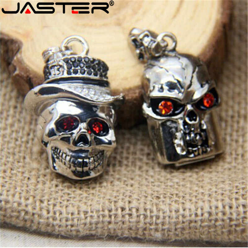 JASTER Cristal Skullcandy pendrive USB Flash Drive USB de metal Criativo Diamante 4 GB/8 GB/16 GB/ 32 GB/64 GB memory stick disco de U