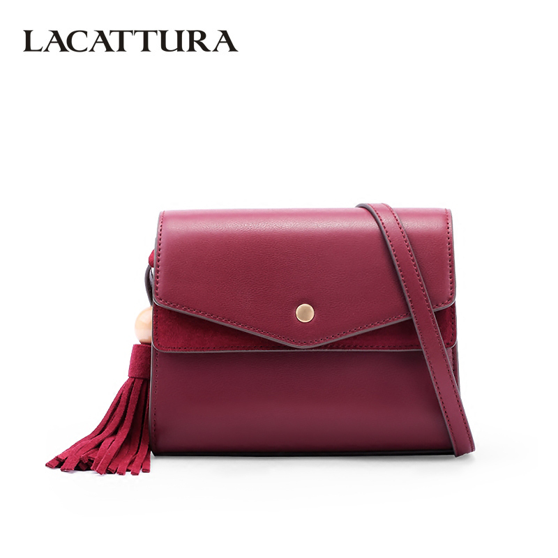 LACATTURA Luxury Tassels Handbag Crossbody for Women Bag Designer Leather Young Shoulder Bags Fashion Messenger Bag Lady Clutch women designer leather smiley trapeze handbag luxury lady smiling face purse shoulder bag girl crossbody bag sac femme neverfull