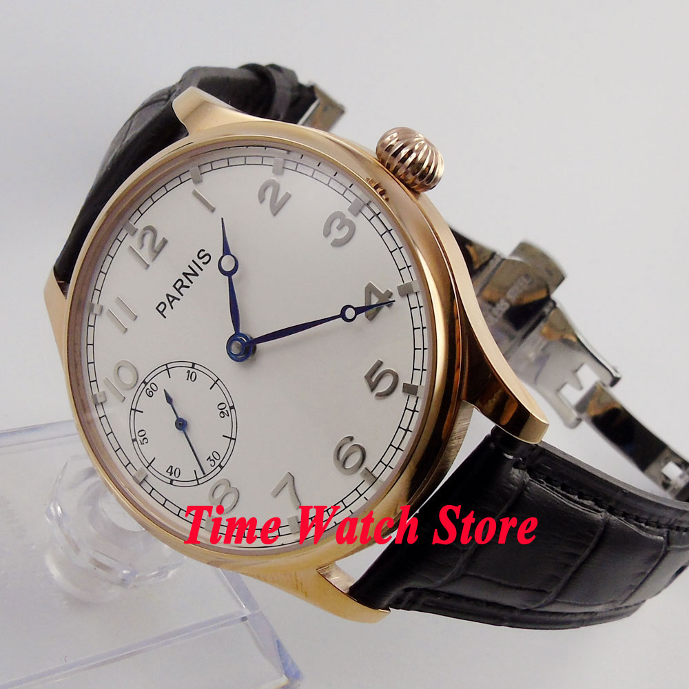 44mm PARNIS mens watch white dial rose golden plated case deployant clasp 17 jewels mechanical 6497 hand winding movement 22044mm PARNIS mens watch white dial rose golden plated case deployant clasp 17 jewels mechanical 6497 hand winding movement 220