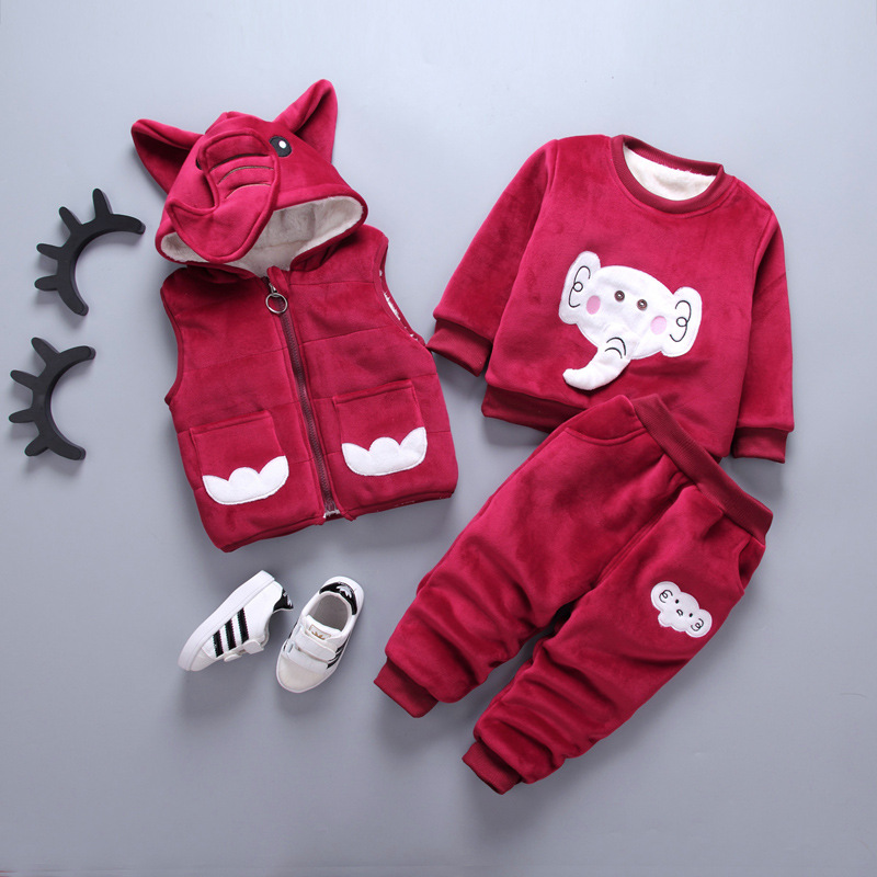 New 2017 Winter Warm children Clothing Set Kids Baby Girl boy Suit Warm sets toddler hoodied coat Vest +Long sleeves+ Pant 3Pcs 2015 new autumn winter warm boys girls suit children s sets baby boys hooded clothing set girl kids sets sweatshirts and pant