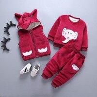 New 2018 Winter Warm children Clothing Set Kids Baby Girl boy Suit Warm sets toddler hoodied coat Vest +Long sleeves+ Pant 3Pcs