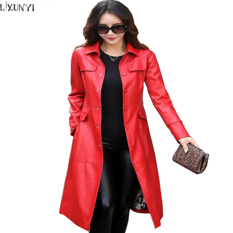 best sneakers cfb8e c66d5 US $67.87 31% OFF|LXUNYI Korean Fashion Dünne Lange Ledermantel Frauen  Trenchcoats mit Gürtel Lässig Plus Größe frauen lederjacke 3XL 4XL 5XL-in  Leder ...