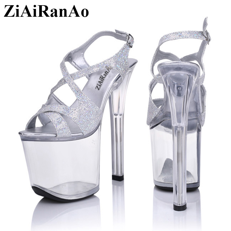 ZiAiRanAo Big Size Shoes Woman Nightclub Style Sandals Transparent Platform Women Pumps Sexy Corss Glitter Party High Heels big size 32 43 fashion party shoes woman sexy high heels platform summer pumps ankle strap sandals women shoes