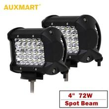 """Auxmart 4 """"Luce del Lavoro di 72 w Fuori Strada HA CONDOTTO LA Luce di Funzionamento del LED di Guida Lampada 6500 k LED 12 v 24 v Spot del Fascio ATV SUV 4×4"""