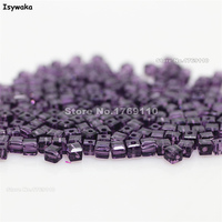 Isywaka 1980pcs Cube 2mm Purple Color Square Austria Crystal Beads Glass Beads Loose Spacer Bead DIY