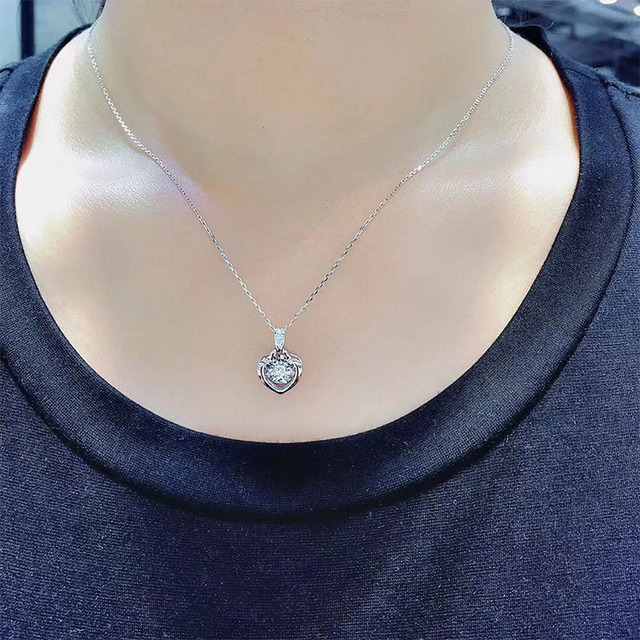 ANI 18K Solid White Gold Pendant Necklace SI Real Natural Diamond Fine Jewelry Women Engagement Necklace Heart Birthday Gift 6