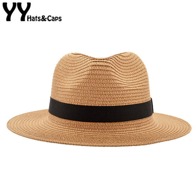 e334d10ff654e Khaki Panama Hats For Men Straw Sun Hats Women Beach CAPS Couple Sun Visor  Hats Wide Brim Summer Fedora Jazz Cap Chapeu YY18028