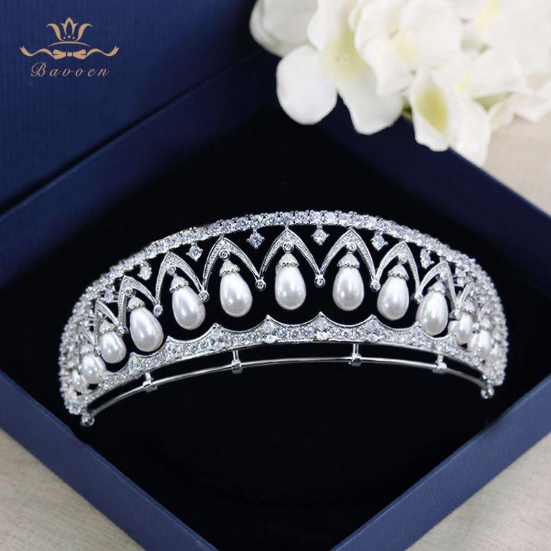 Bavoen Luxury European Pearls Brides Tiara Headpieces Zircon Crystal Wedding Crowns Evening Hair Accessories High quality