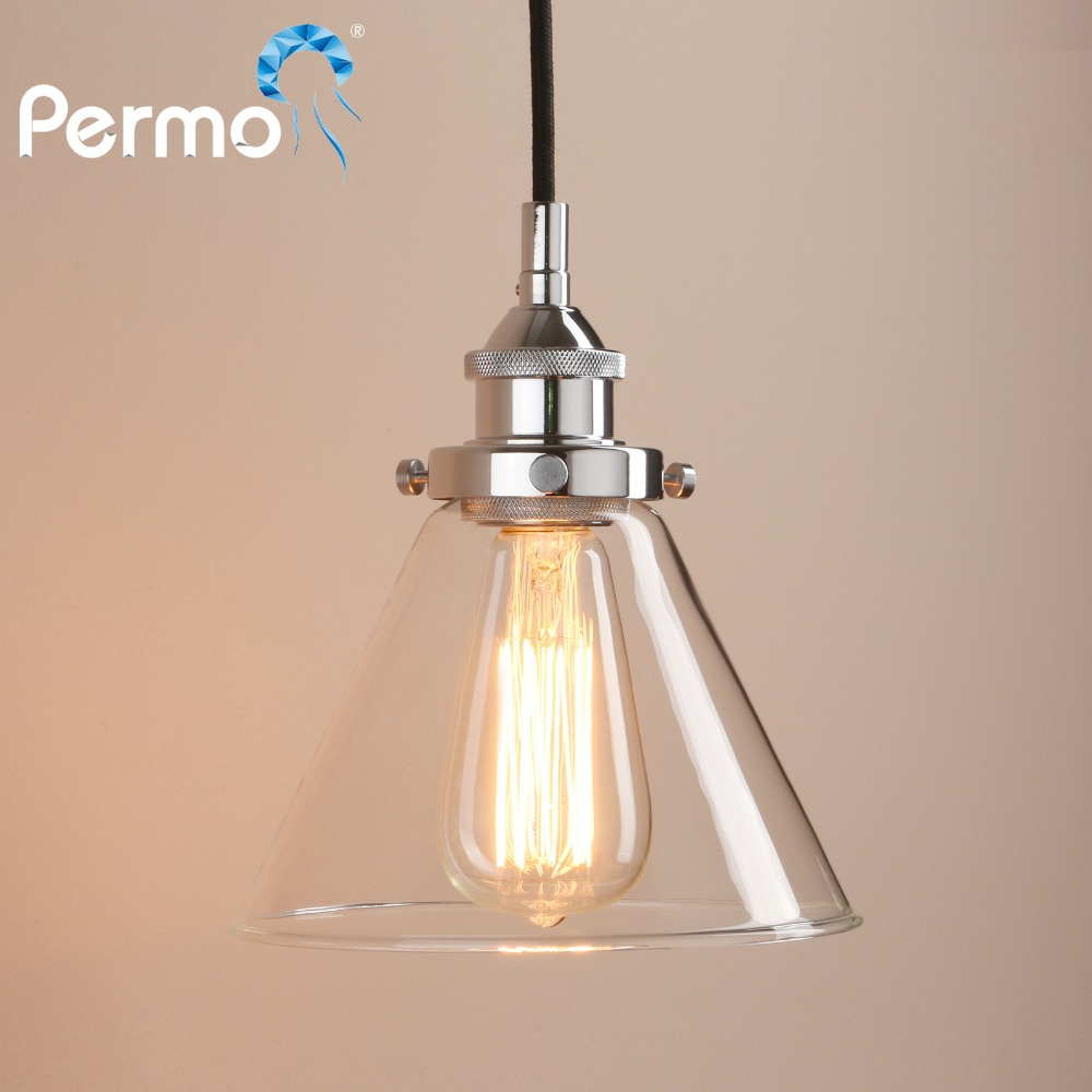 PERMO Retro Pendant Lights Copper Glass Pendant Ceiling Lamp Modern Hanglamp Luminaire Vintage Lights Fixture copper retro vintage led ceiling lights