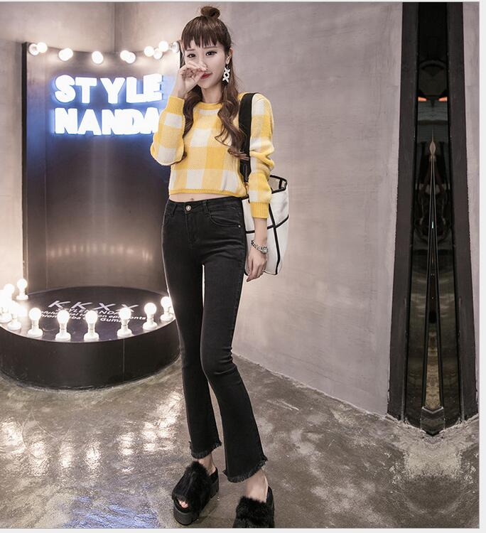 2017 new high waist nine points micro speaker tassel wide leg pants Slim elastic thin jeans female 9 points strech women's flare краска в д finncolor oasis hall
