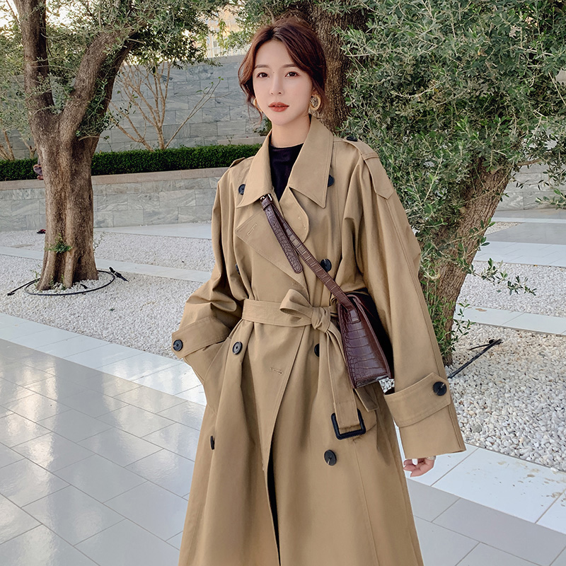 2019 Autumn Winter Elegant   Trench   Coat Women Camel Color Long Loose Windbreaker with Belt Ladies Double Breasted   Trench   Outwear