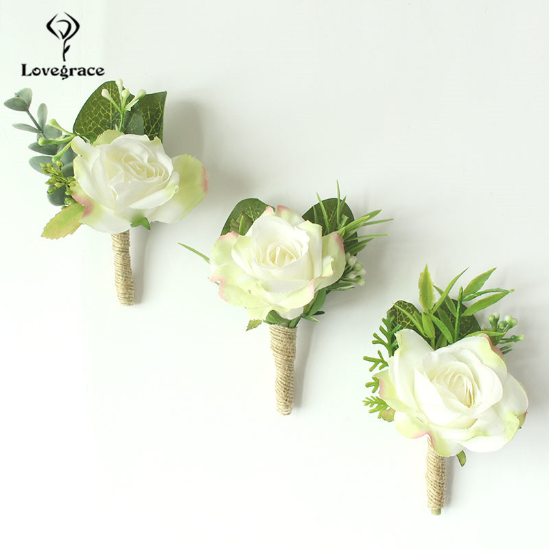 Wedding Accessories Corsages White Roses Groom Boutonnieres Flowers Groomsmen Buttonhole Marriage Pin Guests Silk Wrist Corsages