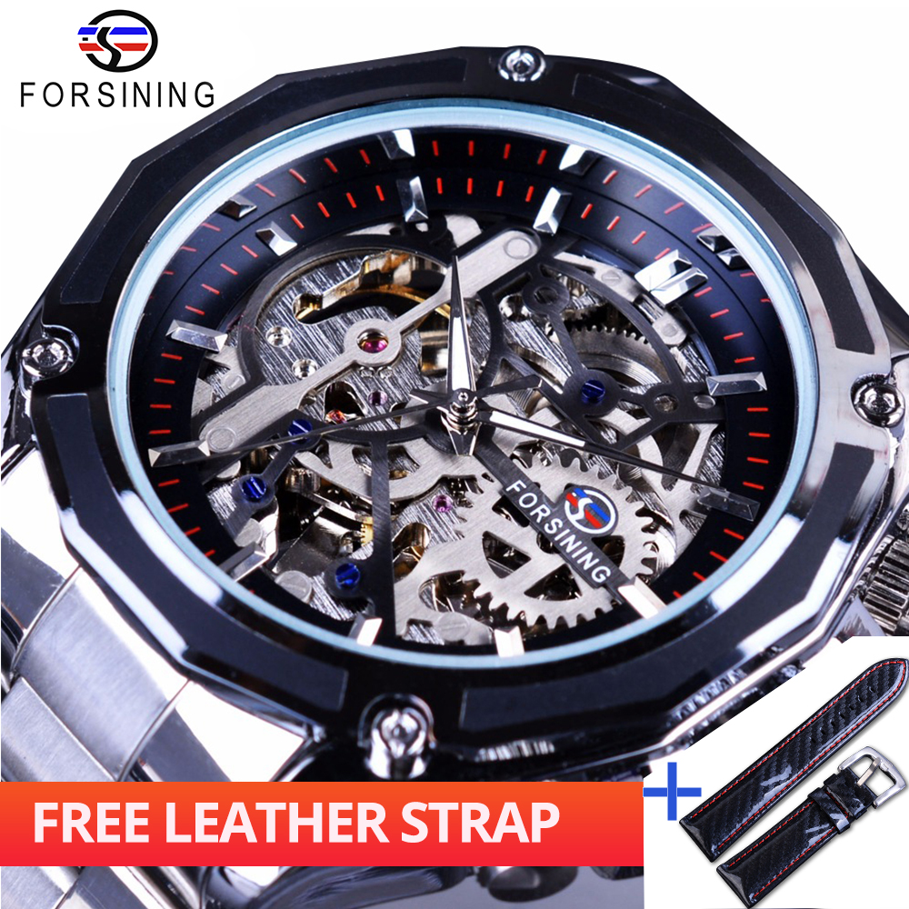 Forsining Watch + Band Set Combination Mechanical Fashion Dress Mens Top Brand Luxury Stainless Steel Automatic Skeleton WatchesForsining Watch + Band Set Combination Mechanical Fashion Dress Mens Top Brand Luxury Stainless Steel Automatic Skeleton Watches