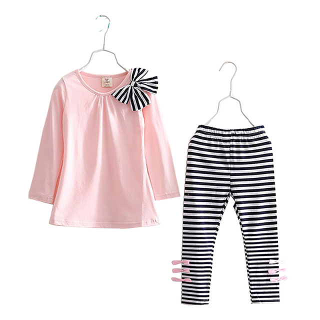 Girls Clothes Children Clothing Set 2019 New Long Sleeve Bow Shirts Striped Leggings Spring Autumn 3 4 5 6 7 8 Year Kids Suits