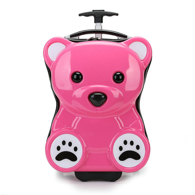 "New Children's Cartoon Pull Rod Box, 3D Bear Trolley Luggage Bag 16"" inch Trolley School Bag"