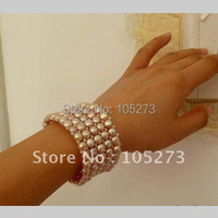 Pearl Jewelry AA6 8MM Purple Color Genuine Freshwater Pearl Bracelet 5row 7inch Fashion Girl's Women's Jewelry New Free Shipping