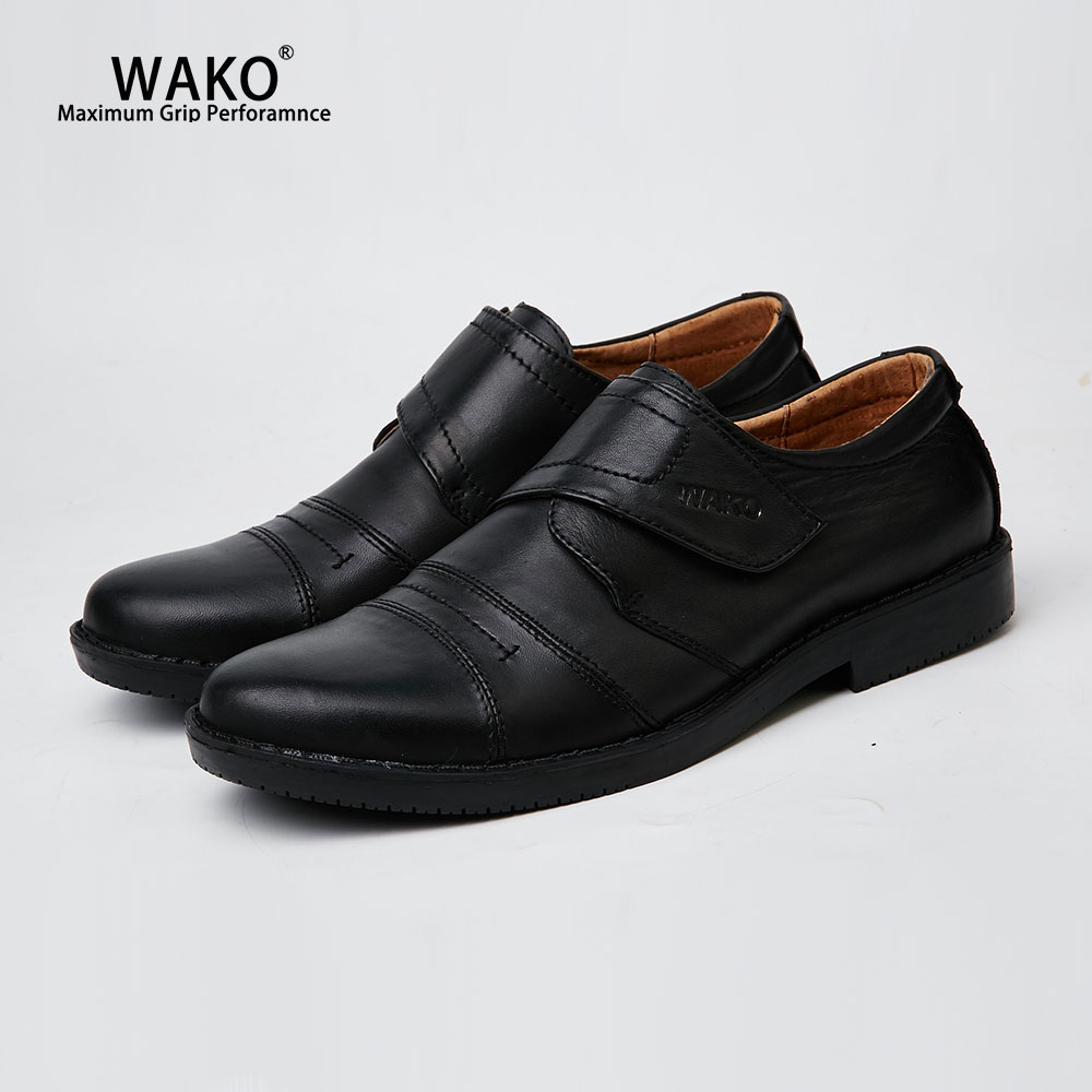 WAKO Breathable Leather Chef Shoes Men Non-Slip Black Kitchen Work Anti-Skid Safety Cook For Restaurant 1402