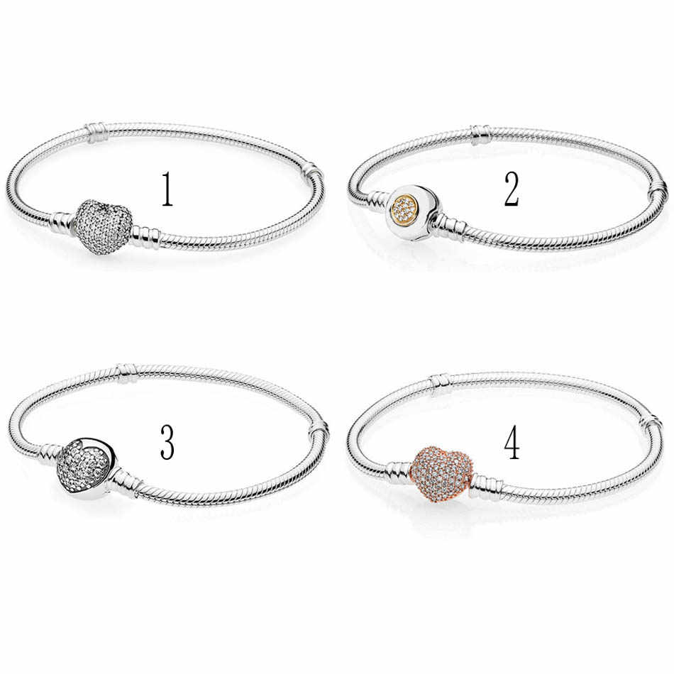 99ba9b5ec Detail Feedback Questions about 925 Sterling Silver Bracelet & Bangle for  Women Pave Heart Moments Two Tone Signature Clasp fit Pandora Beads Charms  on ...