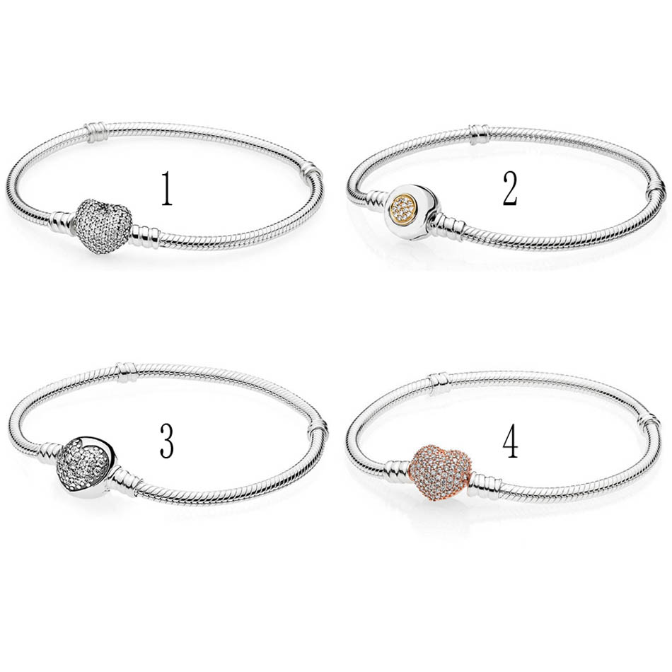 925 Sterling Silver Bracelet & Bangle for Women Pave Heart Moments Two-Tone Signature Clasp fit Lady Beads Charms bangle