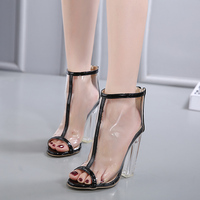 2017 Summer Fashion Sexy Girl Transparency Jelly Shoes Crystal Square Heel High Heels Peep Toe Women